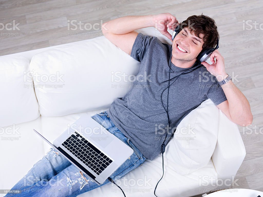 happy man listening music royalty-free stock photo