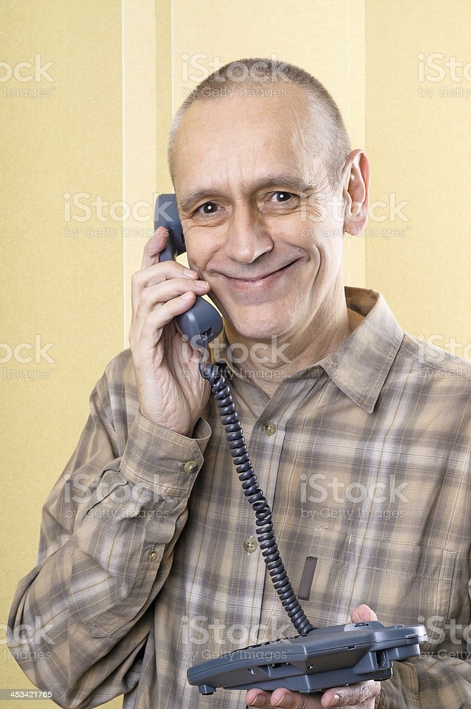 Happy Man on Phone stock photo