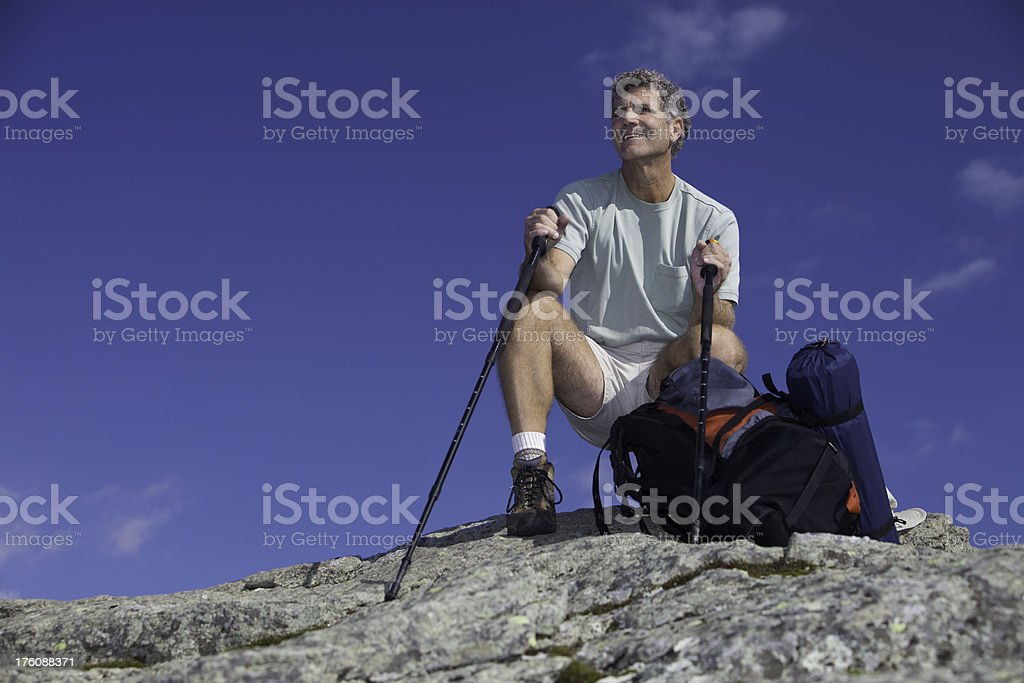 Happy Man on Summit royalty-free stock photo