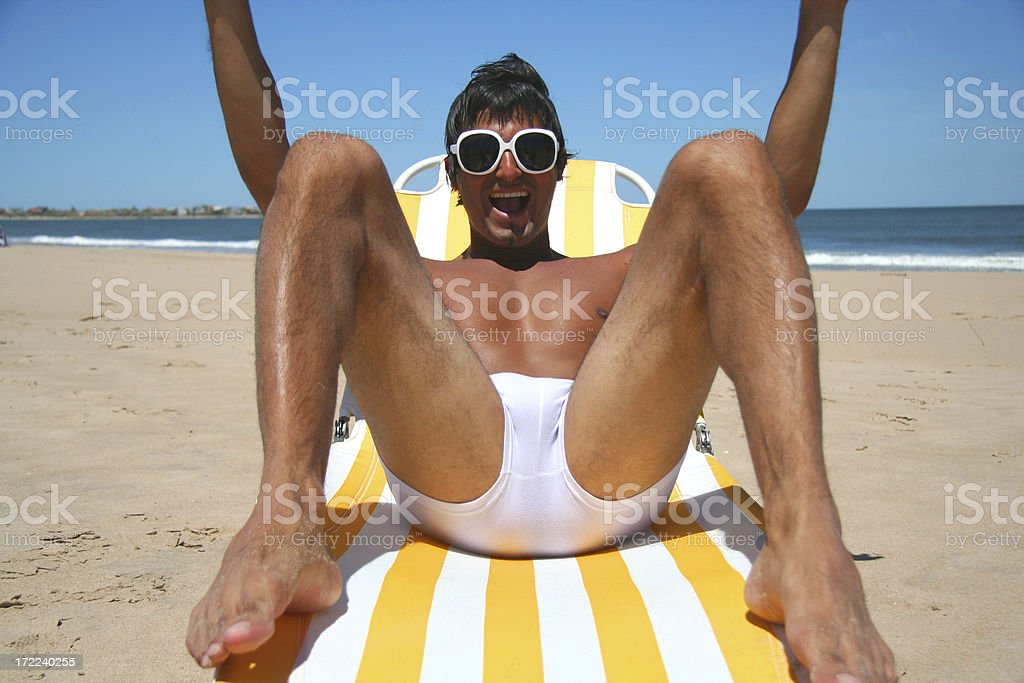 Happy Man on the Beach royalty-free stock photo