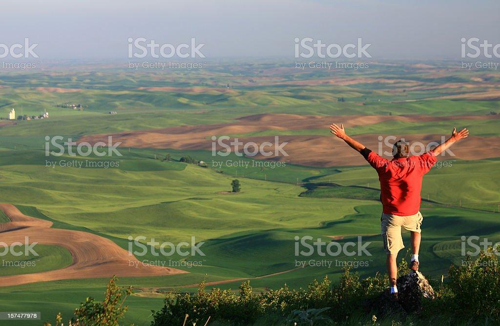Happy Man on the Prairie royalty-free stock photo