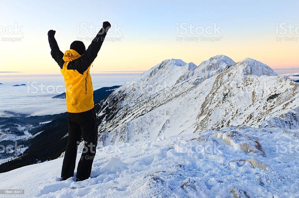 happy man on top of the mountain royalty-free stock photo