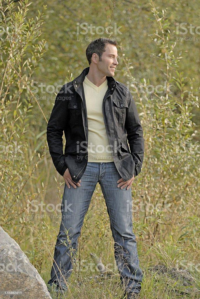 happy man outdoors royalty-free stock photo