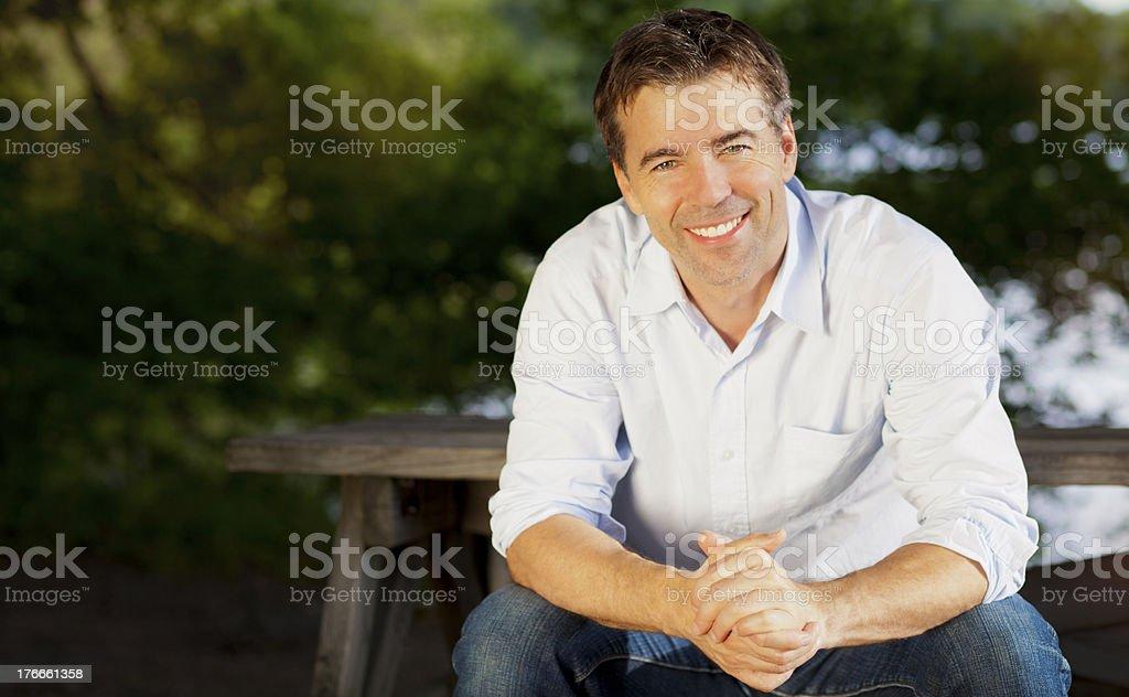 Happy Man Outside stock photo