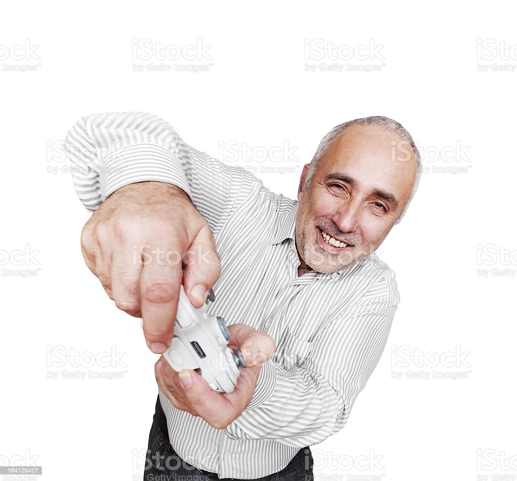 happy man playing in video game royalty-free stock photo