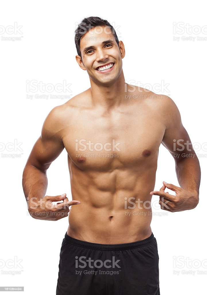 Happy man showing abs royalty-free stock photo