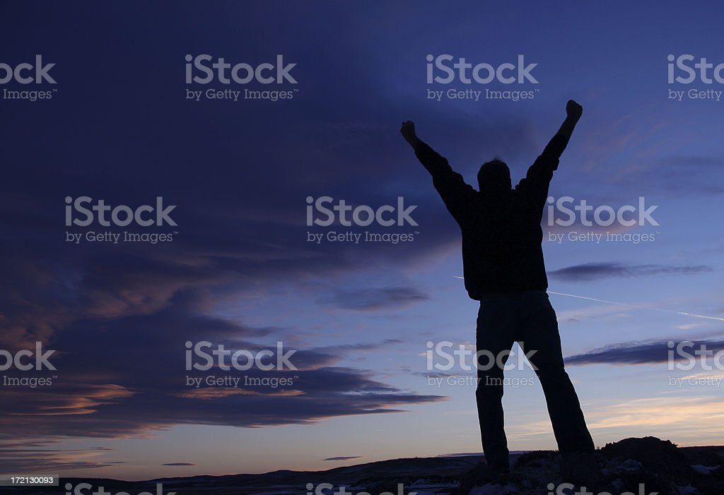 Happy Man Silhouette royalty-free stock photo