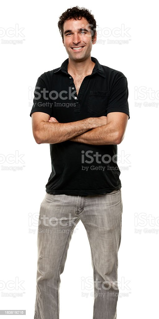 Happy Man Standing With Arms Crossed stock photo