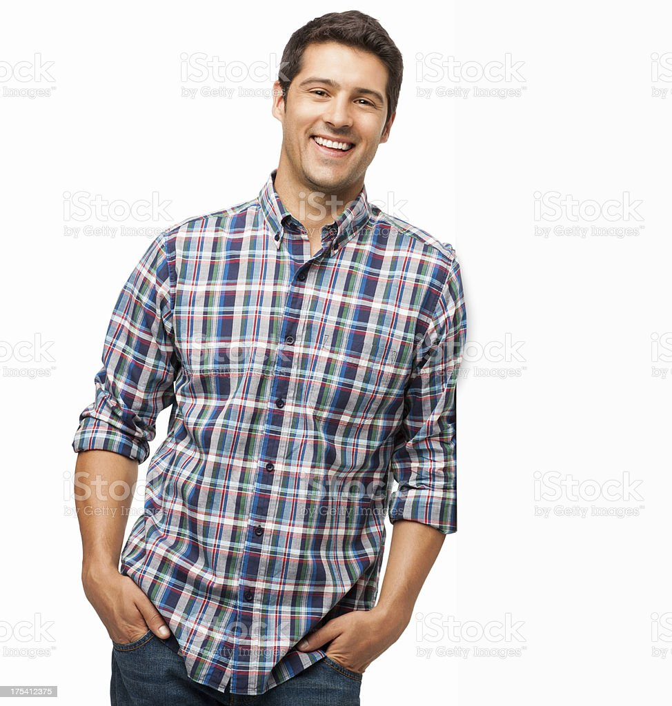 Happy Man Standing With Hands In Pockets - Isolated royalty-free stock photo