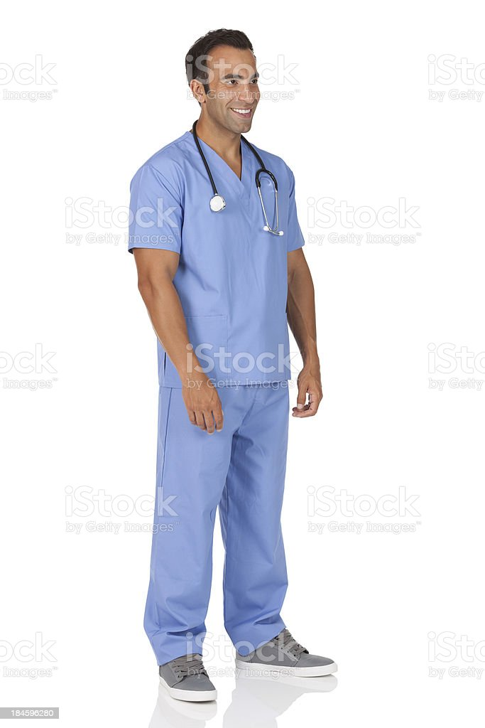 Happy man surgeon with a stethoscope royalty-free stock photo