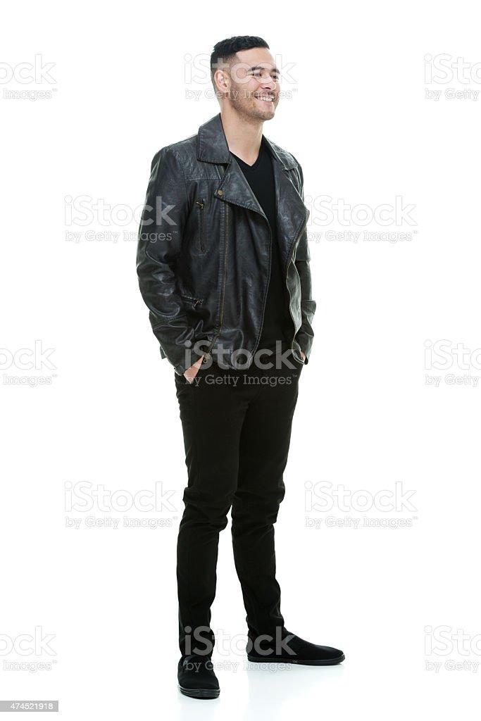 Happy man wearing leather jacket stock photo