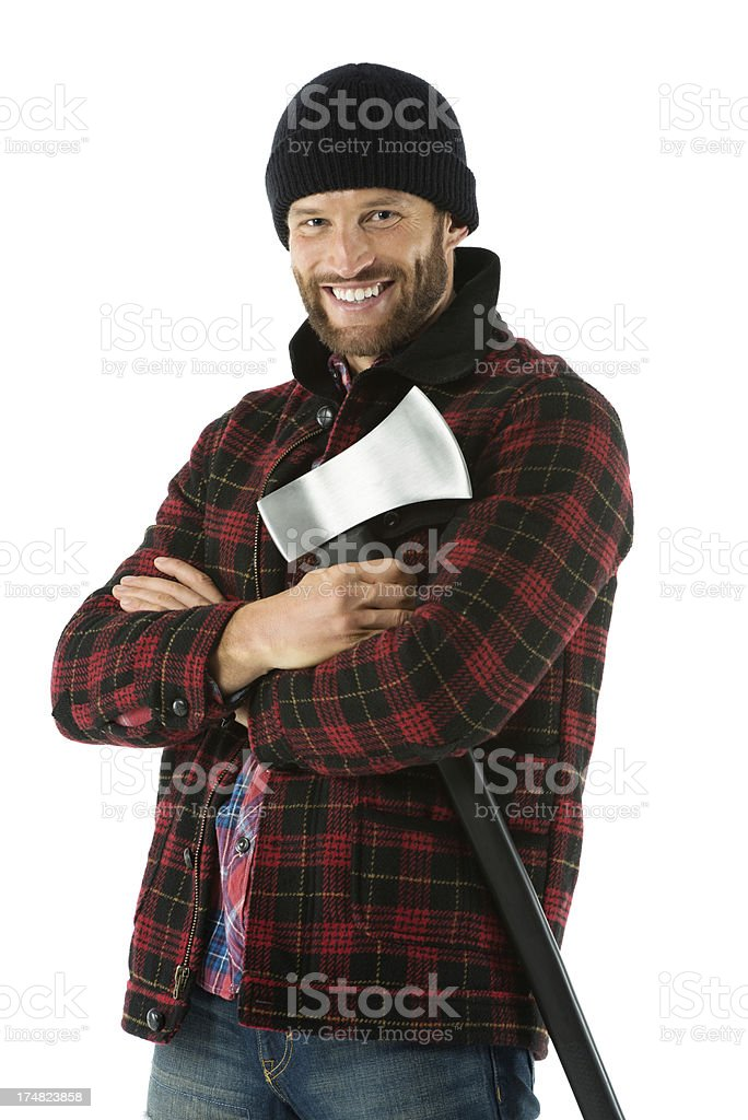 Happy man with an axe royalty-free stock photo