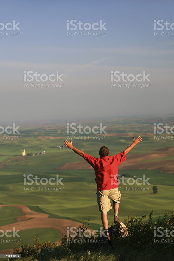 Happy Man With Arms Outstretched royalty-free stock photo