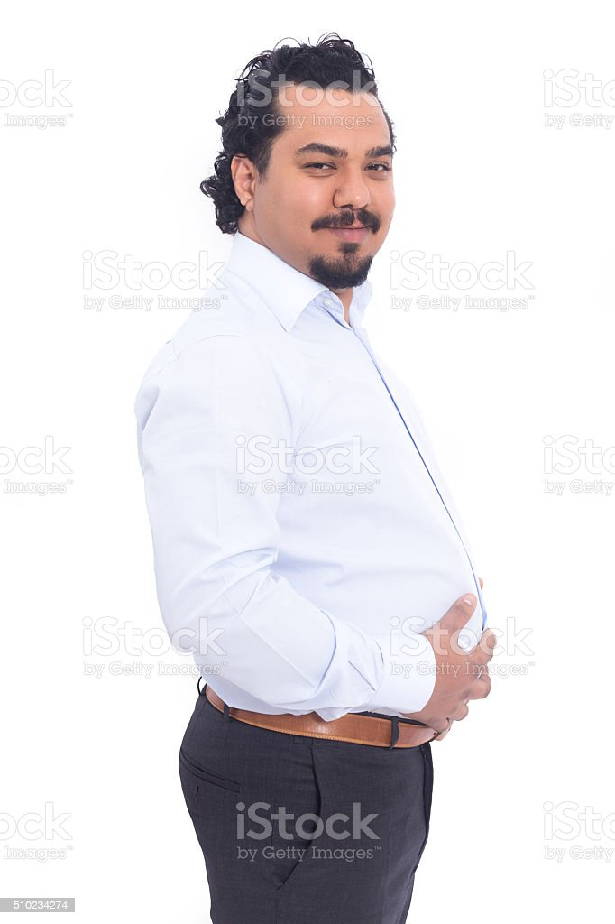 Happy man with big belly stock photo