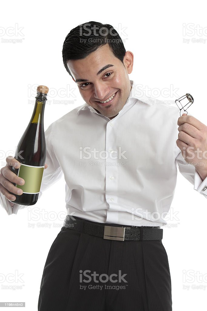 Happy man with bottle of champagne royalty-free stock photo