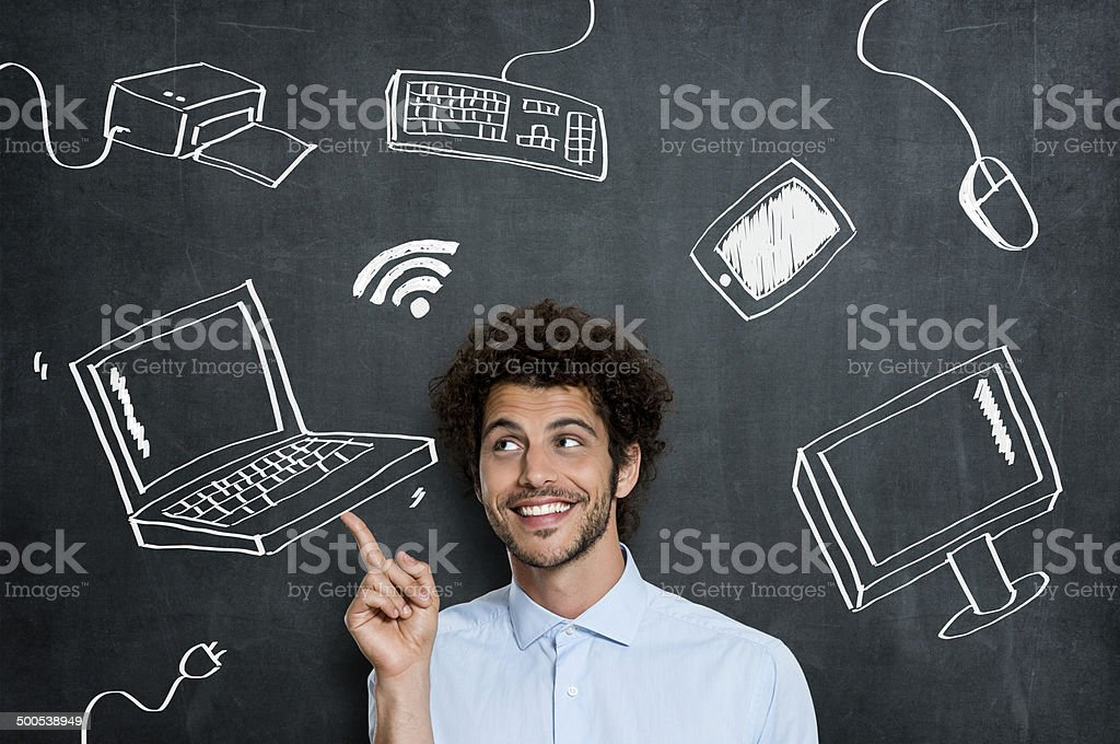 Happy man with computer technology stock photo