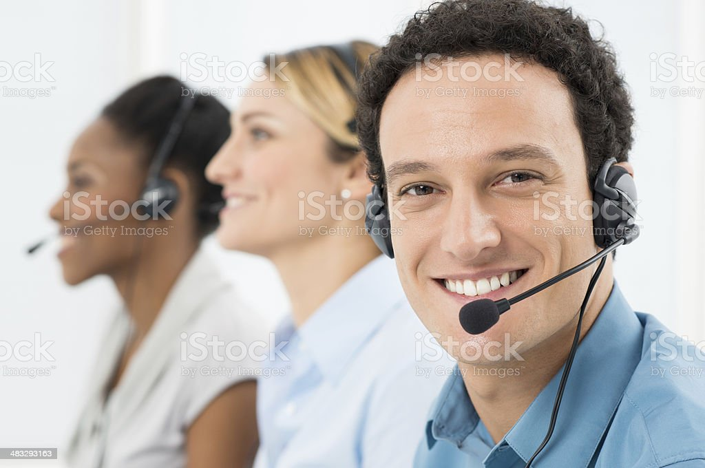 Happy Man With Headsets stock photo