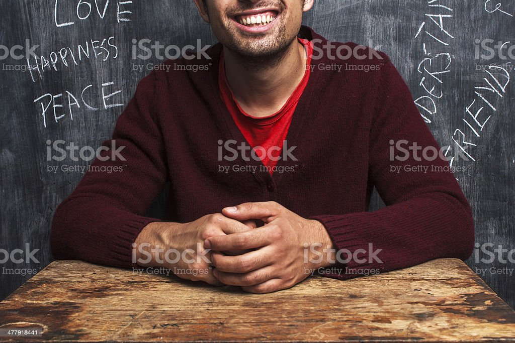 Happy man with positive thoughts royalty-free stock photo