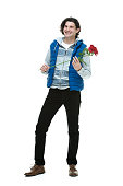 Happy man with rose flower