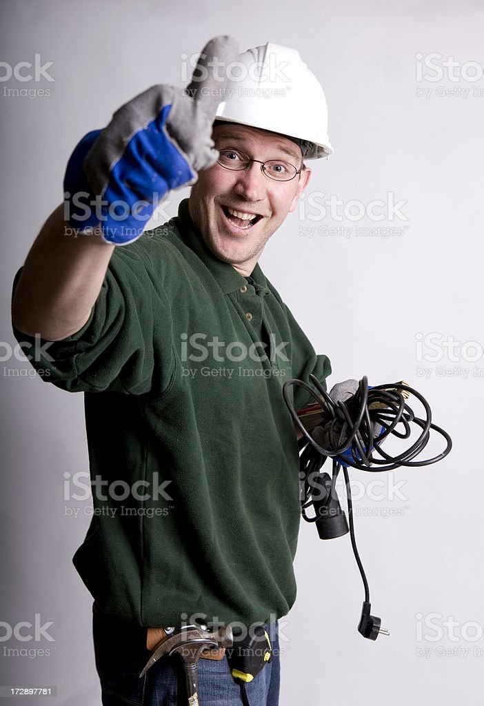 Happy manual worker is positeve about his job royalty-free stock photo
