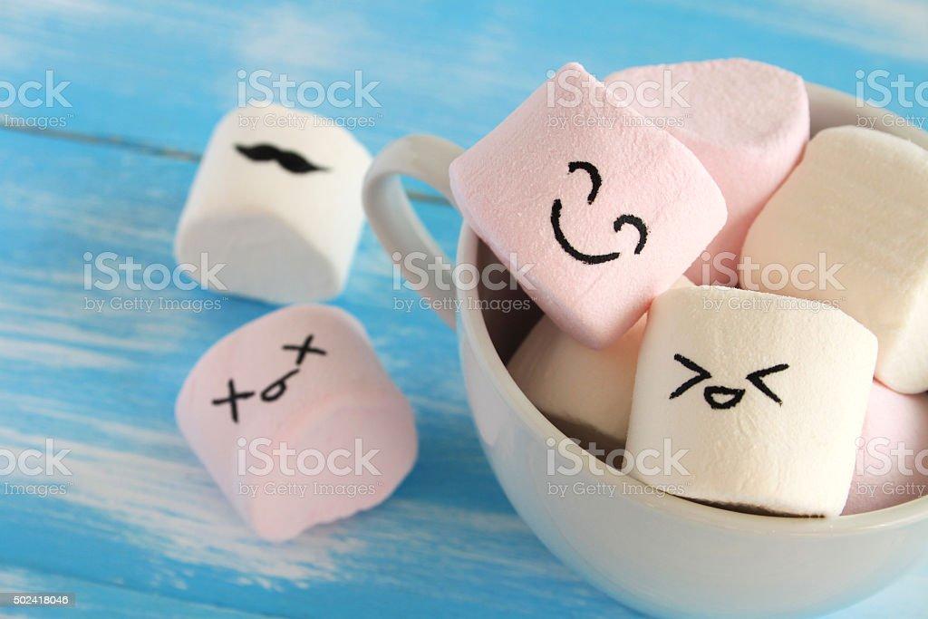 Happy Marshmallows stock photo