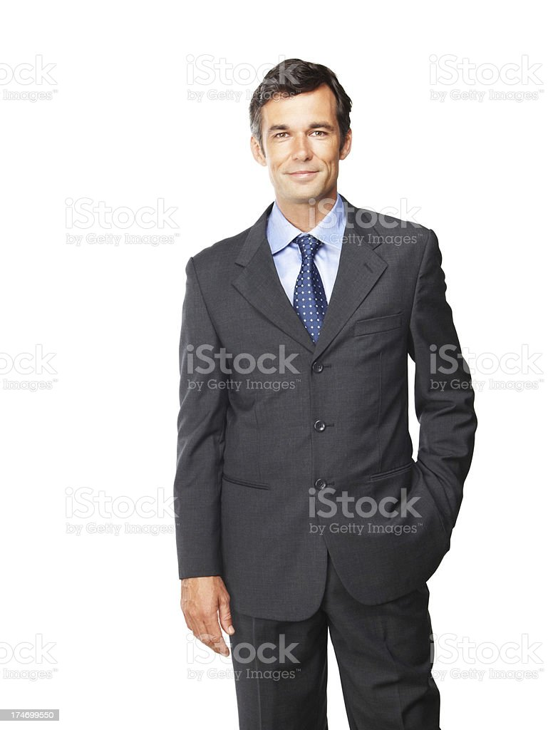 Happy mature businessman posing royalty-free stock photo