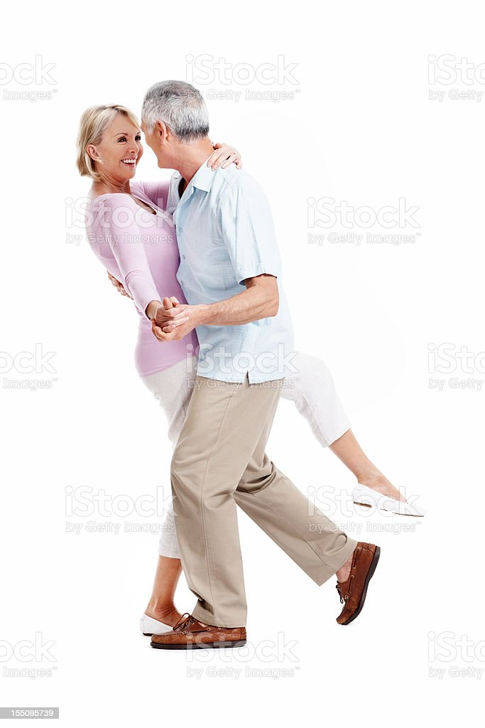 Happy mature couple dancing royalty-free stock photo
