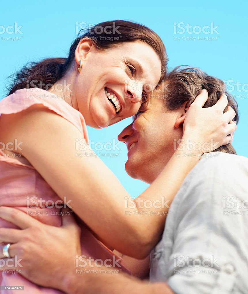 Happy mature couple having a romantic time together stock photo