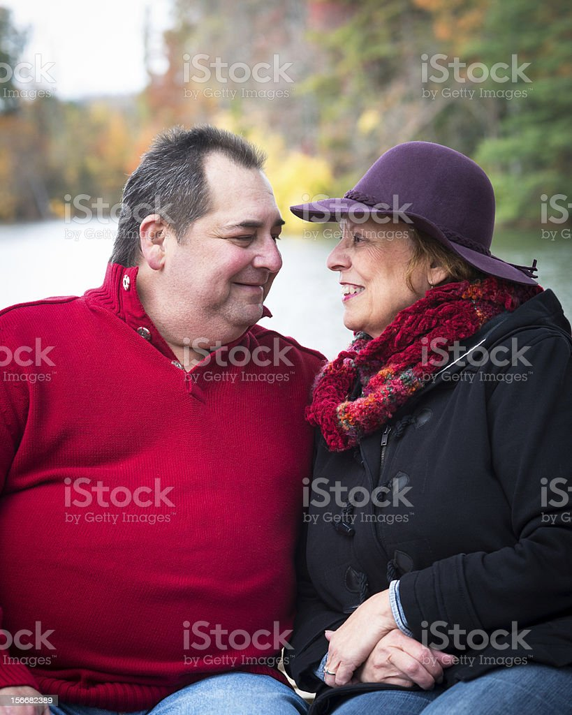 Happy Mature Couple in the Park royalty-free stock photo