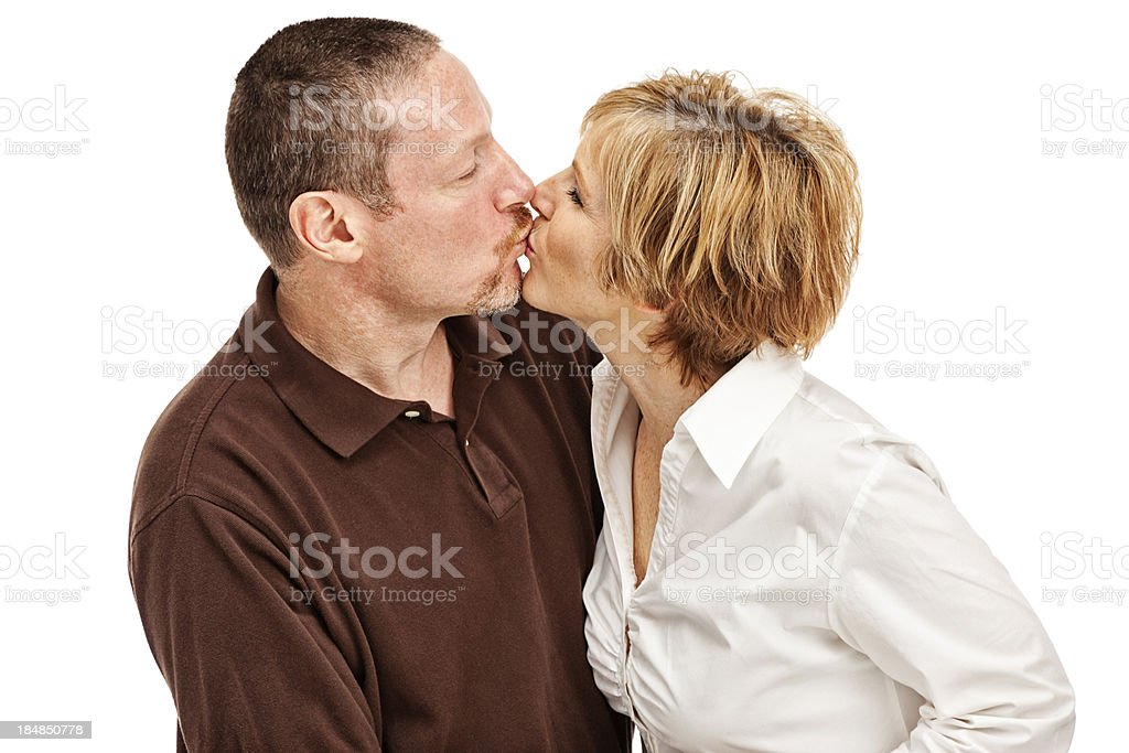 Happy Mature Couple Kissing stock photo