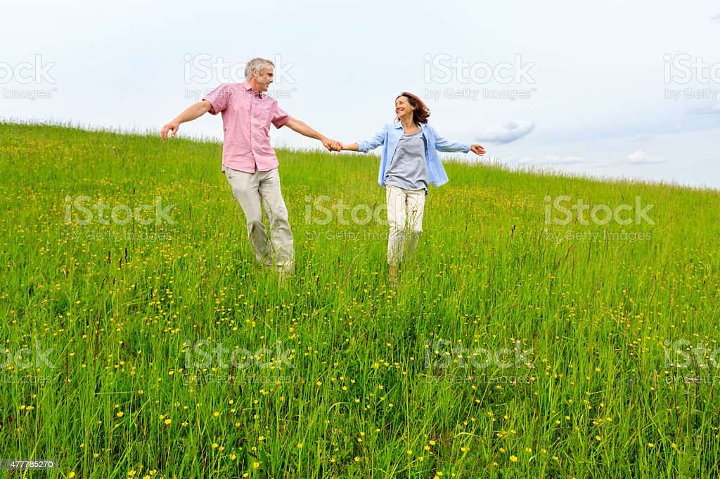 Happy mature couple on meadow stock photo