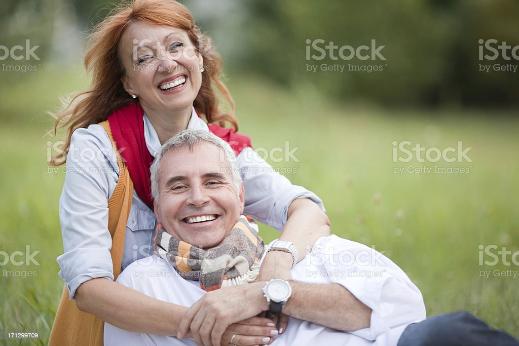 Happy mature couple outdoor. royalty-free stock photo