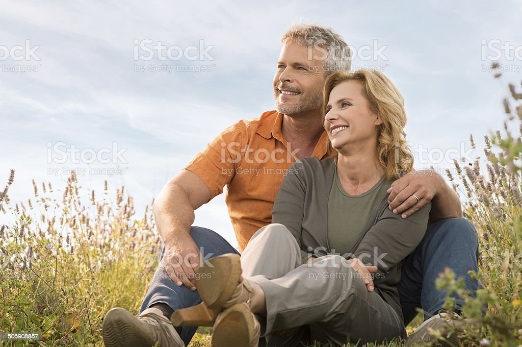 Happy Mature Couple Relaxing stock photo