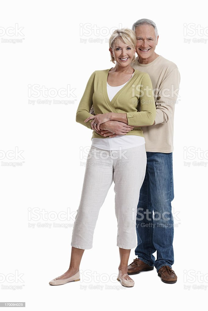Happy mature couple smiling at you royalty-free stock photo