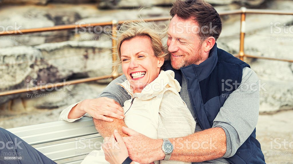 Happy mature couple together stock photo