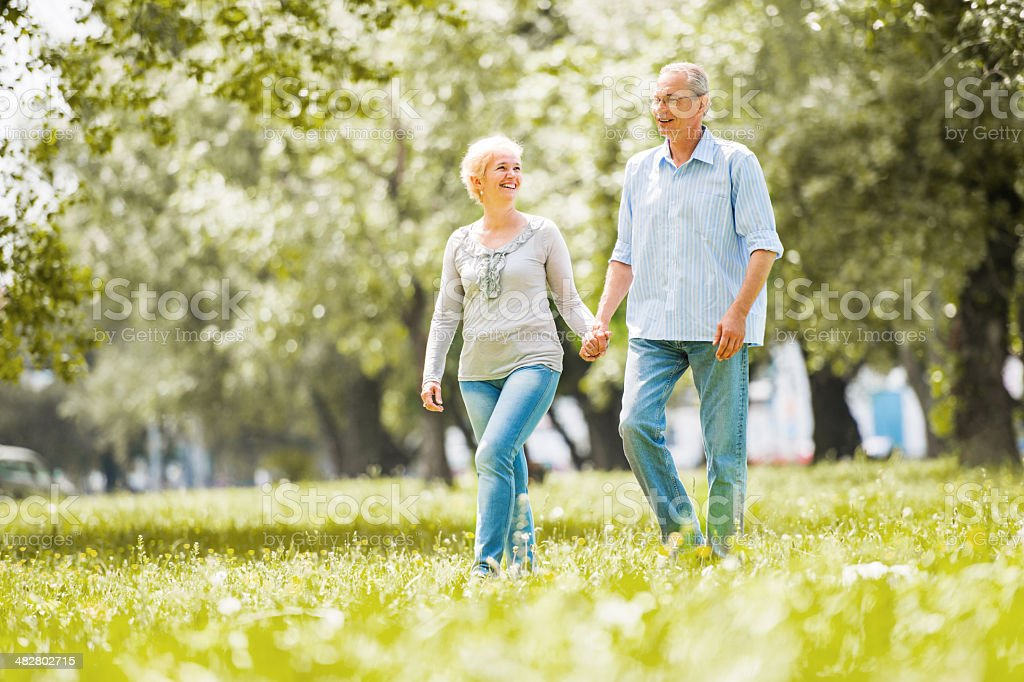 Happy mature couple walking in the field. stock photo