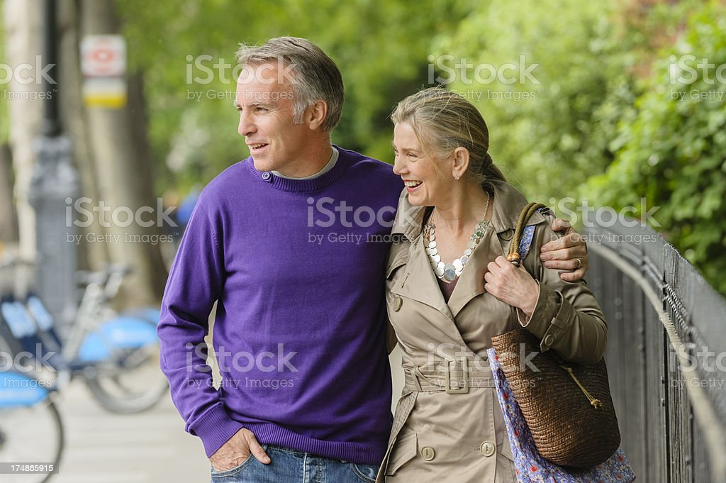 Happy Mature Couple Walking Together royalty-free stock photo