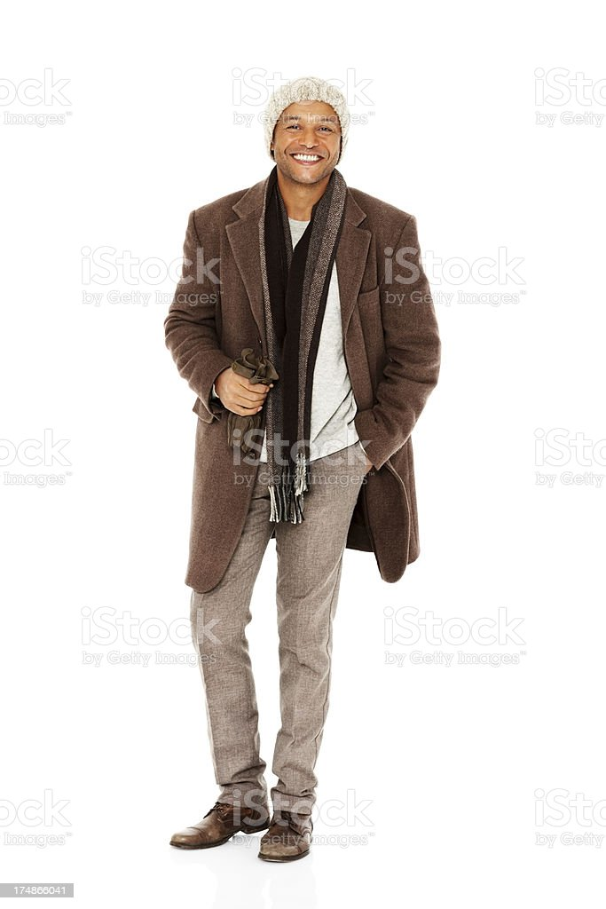 Happy mature guy in casual winter clothing royalty-free stock photo