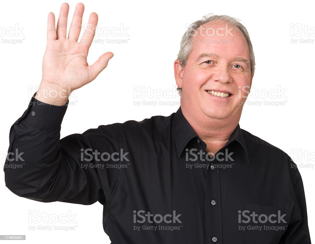 Happy Mature Man Waving Hand royalty-free stock photo