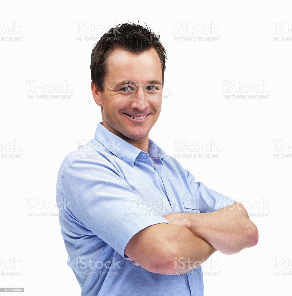 Happy mature man with hands folded standing on white royalty-free stock photo