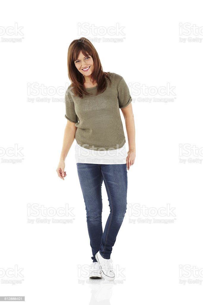 Happy mature woman posing in stylish casuals stock photo