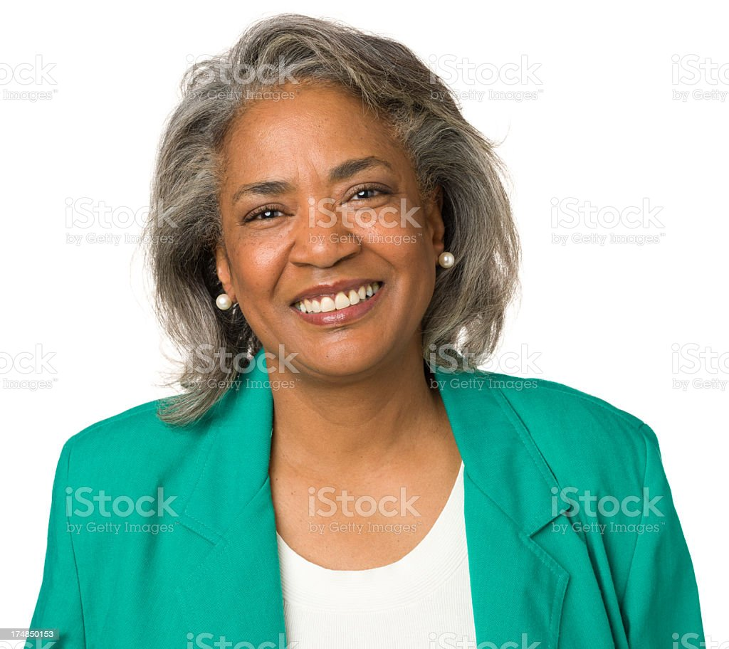Happy Mature Woman Smiling Portrait royalty-free stock photo