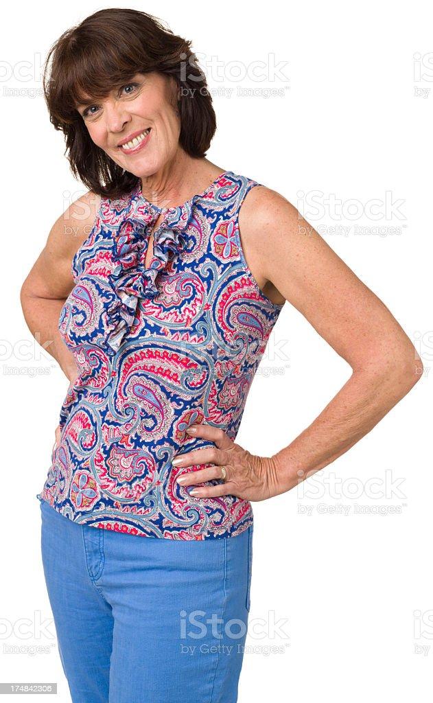 Happy Mature Woman Three Quarter Portrait stock photo