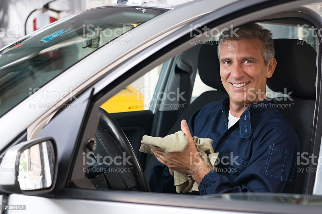 Happy Mechanic stock photo