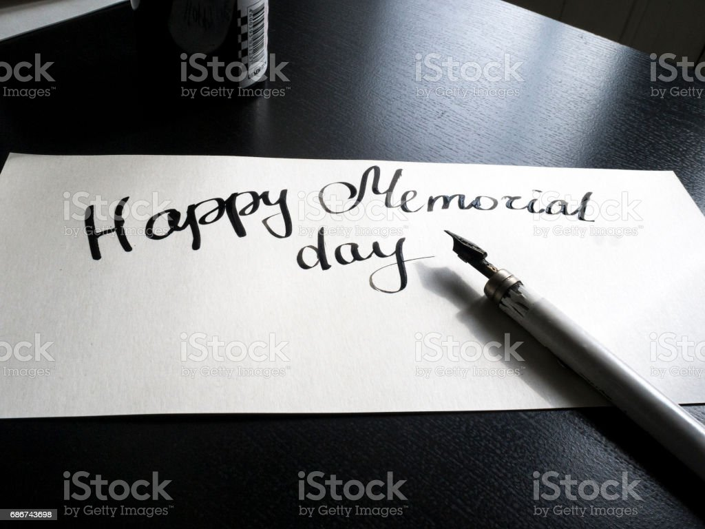 Happy Memorial day calligraphy and lettering post card. Perspective view. A semicircular inscription stock photo