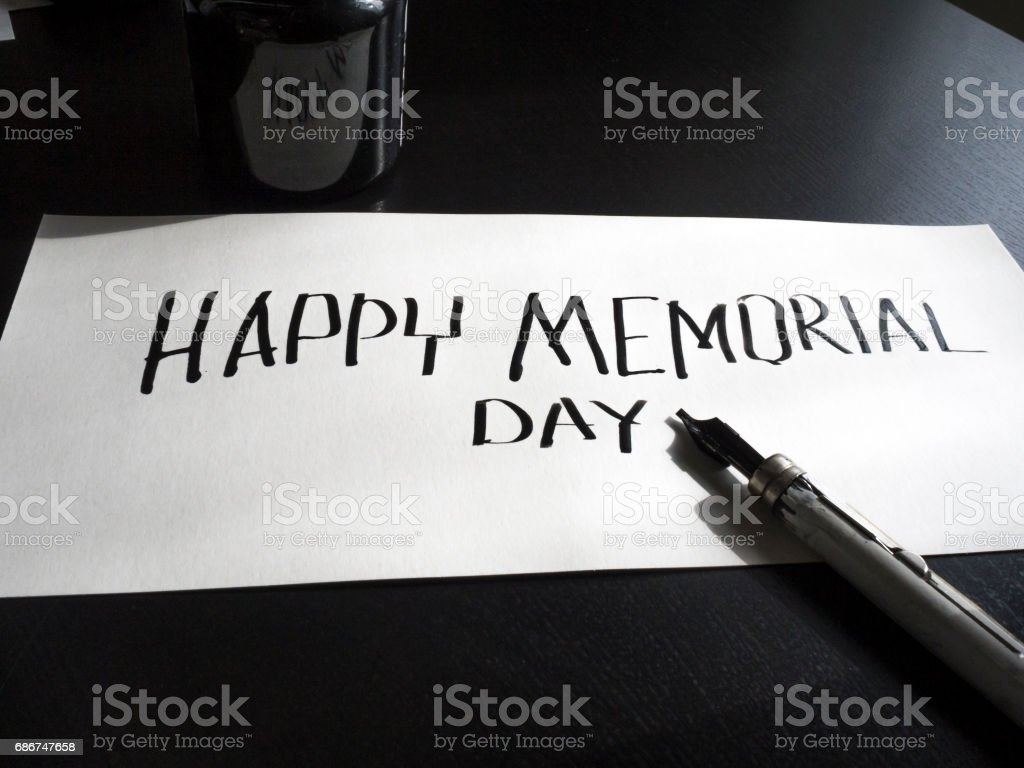 Happy Memorial day calligraphy and lettering post card. Perspective view. Hard letters stock photo