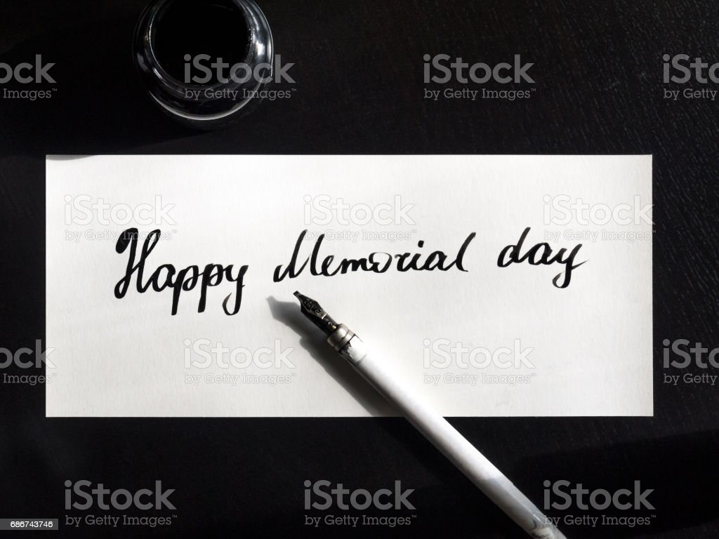 Happy Memorial day calligraphy and lettering post card. Top view. Small letters stock photo