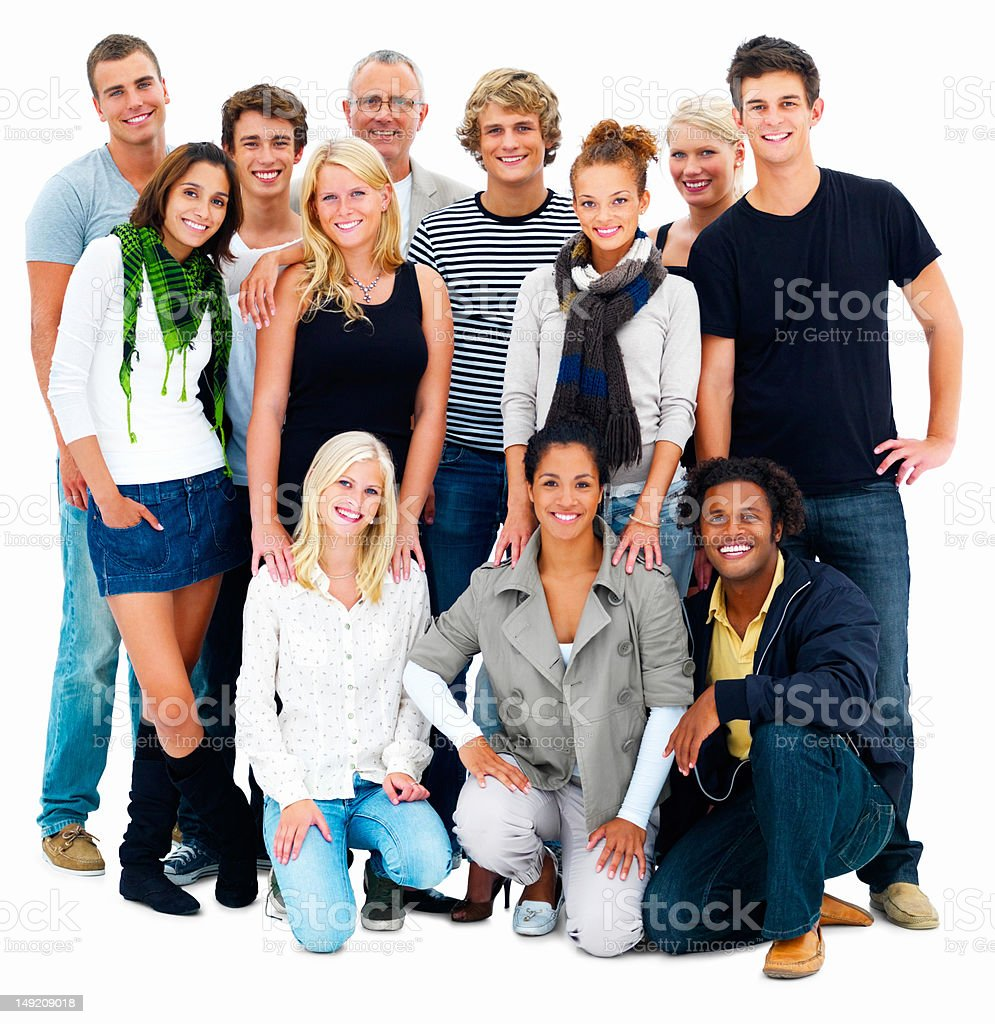 Happy men and women standing together royalty-free stock photo