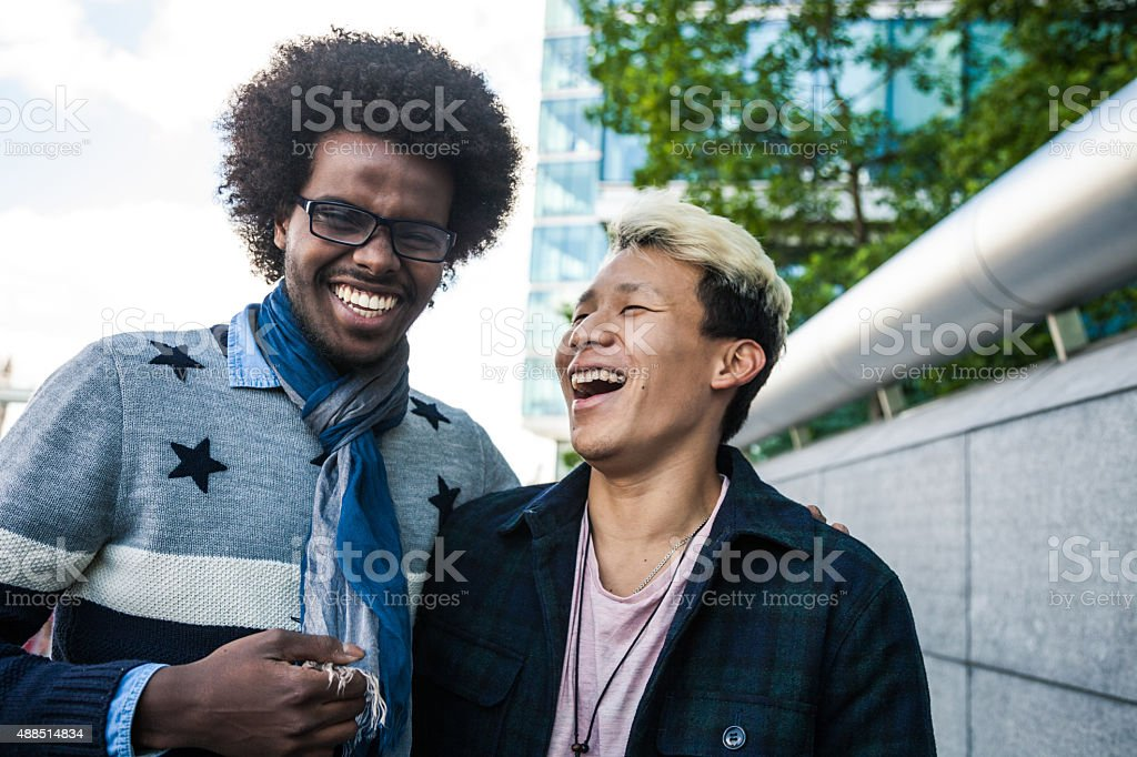 Happy men during a vacation stock photo