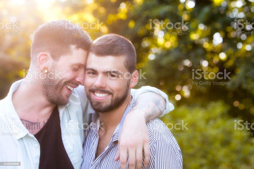 Happy Men Gay Couple stock photo